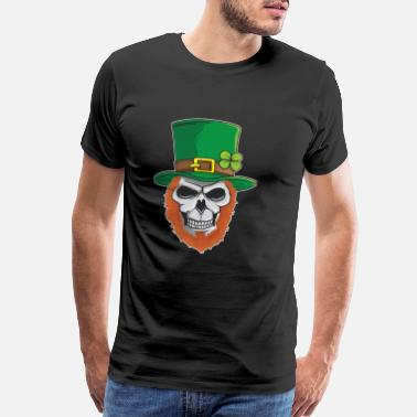 Shamrocks Skull St Patricks Day Leprechaun Skull with green hat - Men's Premium T-Shirt