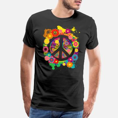 60s Peace Sign And Happiness Colorful Floral 70s Shirt - Men's Premium T-Shirt