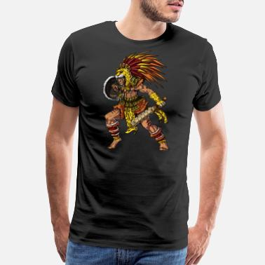 Aztec Aztec Jaguar Warrior Native Mexican - Men's Premium T-Shirt