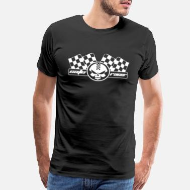 Racing Flags cafe racer racing motorcycle skull and flag - Men's Premium T-Shirt