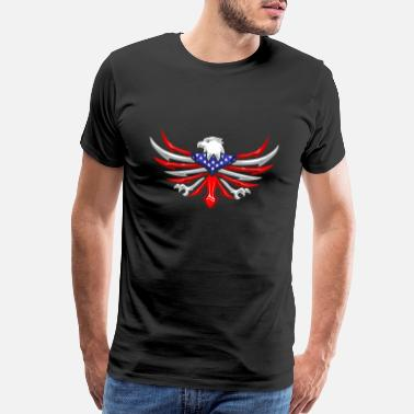 4 Stars American Eagle - Bird Of Prey Tribal USA Flag - Men's Premium T-Shirt
