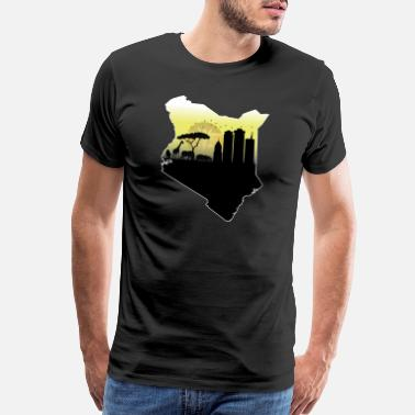 Africa Map Designs Kenyan Pride-Map, Flag, Landmarks and Wildlife - Men's Premium T-Shirt