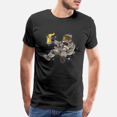 Solar System Sociable Astronaut Drinks Beer | Galaxy Universe - Men's Premium T-Shirt