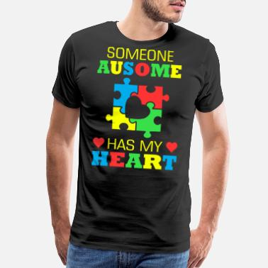 I Love Someone With Autism Someone Awesome Has My Heart Autism Awareness - Men's Premium T-Shirt