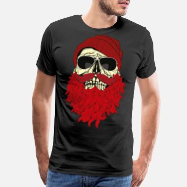 Bearded Skull Hipster Skull with beard and Glasses - Men's Premium T-Shirt