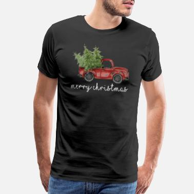 Vintage Truck Vintage Christmas Classic Truck TShirt with Tree - Men's Premium T-Shirt
