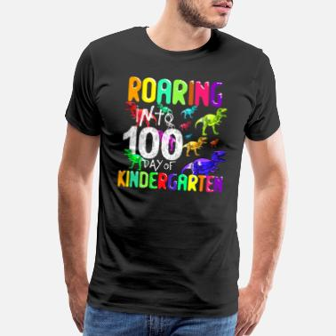 Teachers Rock Roaring Into 100 Days Of Kindergarten T-Rex - Men's Premium T-Shirt