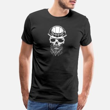 Safety Helmet Skull with safety helmet, construction worker - Men's Premium T-Shirt