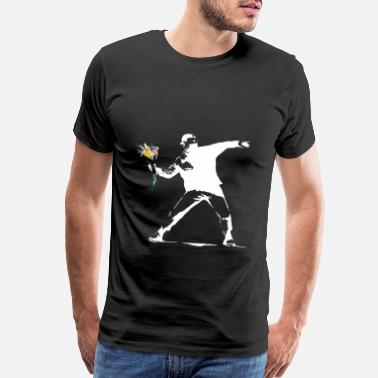 Peace Flower Thrower White - Unofficial Banksy - Men's Premium T-Shirt