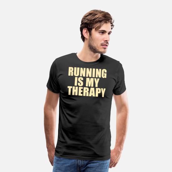 Sports T-Shirts - RUNNING: running is my therapy - Men's Premium T-Shirt black