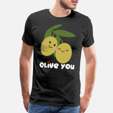 Strongest Olive You | I Love You | Valentine's Day Heart - Men's Premium T-Shirt