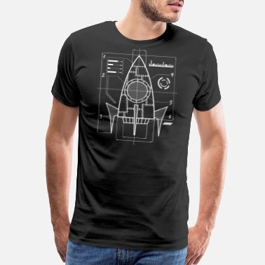 Milky Way Spaceship Blueprint | Galaxy Space Astronautics - Men's Premium T-Shirt