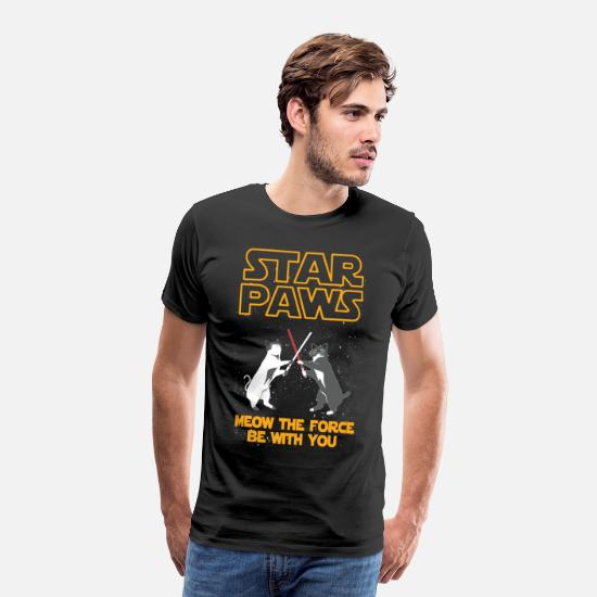 Cat T-Shirts - Star Wars cat version - Meow the force be with you - Men's Premium T-Shirt black