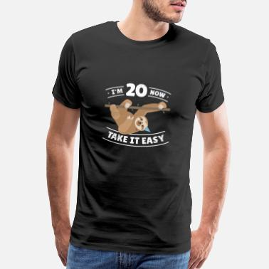 Age Fun Sloth Birthday Boy Girl BDay Gift Age 20 Year - Men's Premium T-Shirt
