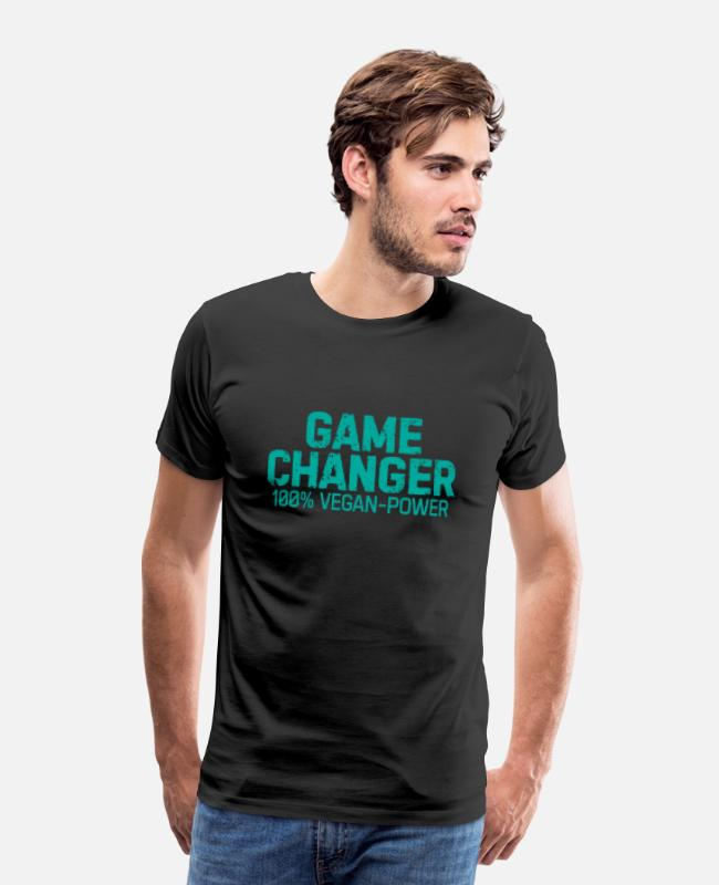 Christmas T-Shirts - Game changer vegan gift plants saying - Men's Premium T-Shirt black