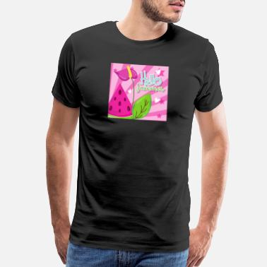 Watermelon Hello Summer Watermelon, flowers and leaves | Gift - Men's Premium T-Shirt