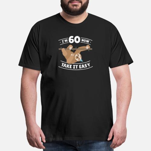 Mens Premium T ShirtFun Sloth Birthday Boy Girl BDay Gift Age 60 Year