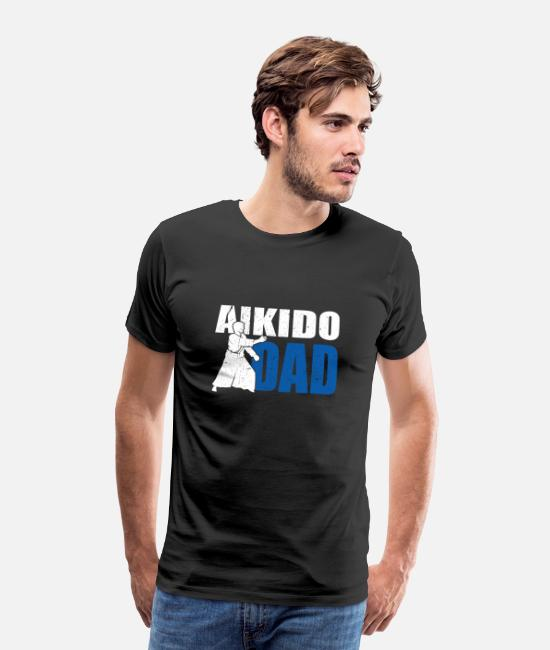 Mma T-Shirts - Proud Aikido Dad MMA Fighter Father Gift Idea - Men's Premium T-Shirt black