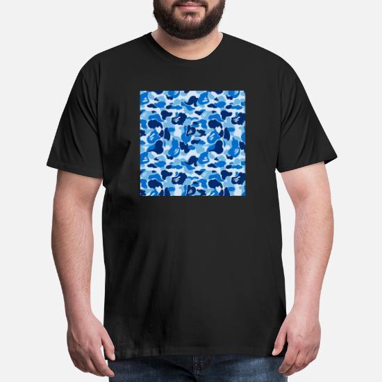 68831692 Ape T-Shirts - bape blue camo - Men's Premium T-Shirt black