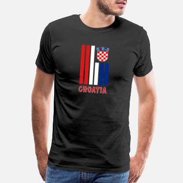 Hrvatska Croatia beams with coat of arms and national color - Men's Premium T-Shirt