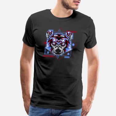 Reptile bear head face retro - Men's Premium T-Shirt