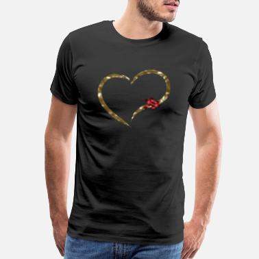 Golden Anniversary Gold heart with a red ribbon in the form - Men's Premium T-Shirt