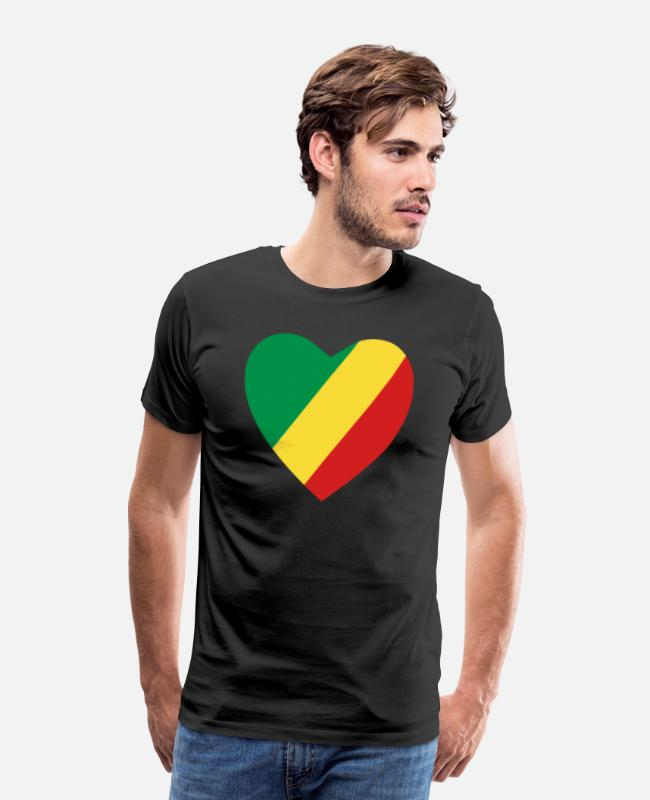 Congo-brazzaville Love T-Shirts - Congo-Brazzaville Flag Heart - Men's Premium T-Shirt black