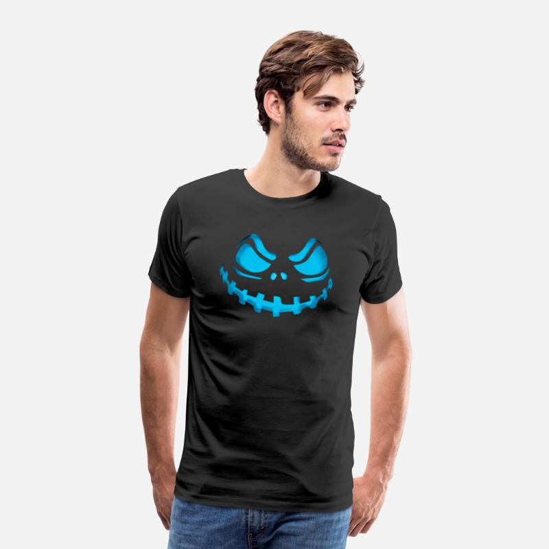 Gaming T-Shirts - Scary Evil Pumpkin Face Halloween Jack-O-Lantern - Men's Premium T-Shirt black