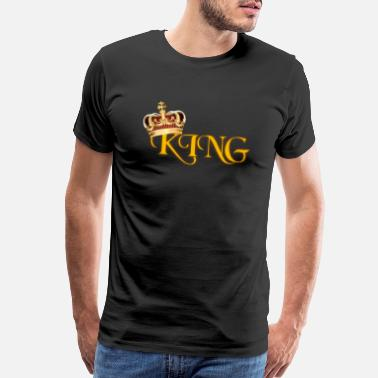 Letter Crown GOLD KING CROWN WITH YELLOW LETTERING - Men's Premium T-Shirt