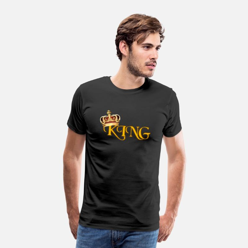 Crown T-Shirts - GOLD KING CROWN WITH YELLOW LETTERING - Men's Premium T-Shirt black