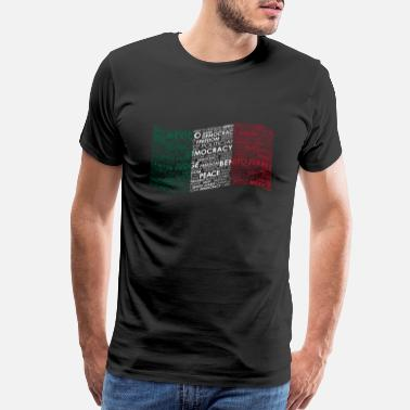 Paz Benito Juarez Mexico Flag Wordart Democracy - Men's Premium T-Shirt