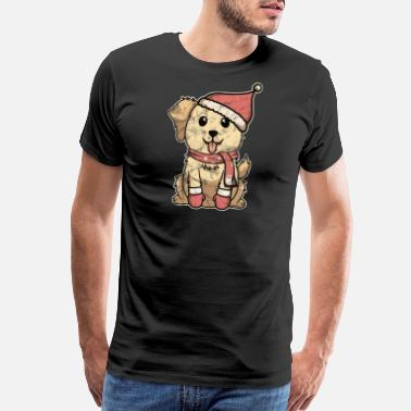 Cuddle Retriever with Golden Fur Vintage Christmas Gift - Men's Premium T-Shirt