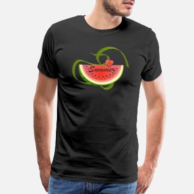 Juicy Slice of a watermelon with a heart and summer typo - Men's Premium T-Shirt