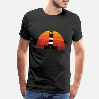 East Frisia Sea Lighthouse vintage Sunset - Men's Premium T-Shirt