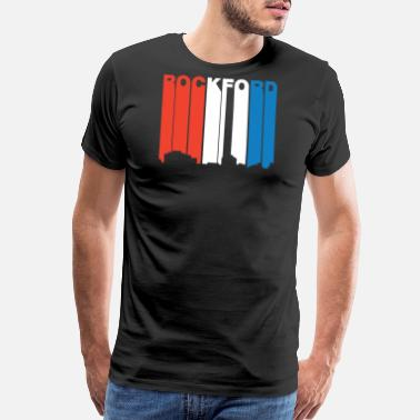 Rockford Red White And Blue Rockford Illinois Skyline - Men's Premium T-Shirt