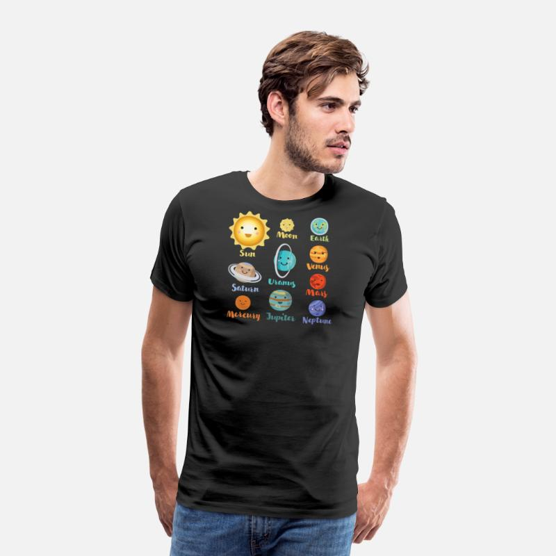 Planet T-Shirts - Cartoon Planets Of The Solar System - Men's Premium T-Shirt black