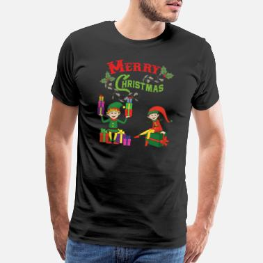 Ugly-holiday-sweater Funny Cool Cute Christmas Xmas Elf Elves Gifts - Men's Premium T-Shirt