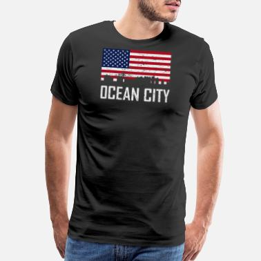 Md Ocean City Maryland Skyline American Flag - Men's Premium T-Shirt