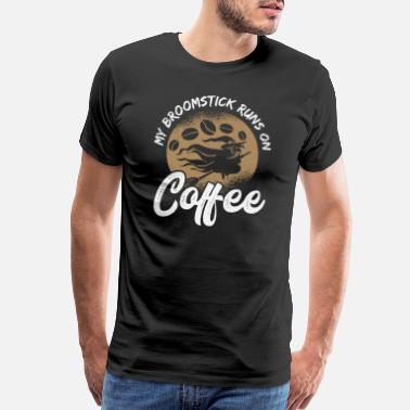 Skeleton Costume Broomstick Tuns On Coffee Halloween Witch Gift - Men's Premium T-Shirt
