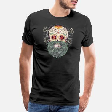 Old School Tattoo Day of the Dead Bearded Skull - Men's Premium T-Shirt