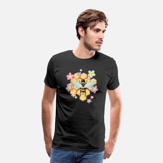 Honey T-Shirts - Bee with honeycomb - Men's Premium T-Shirt black