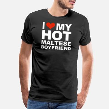 I Love My Fiancee I Love my hot Maltese Boyfriend Valentine's Day - Men's Premium T-Shirt