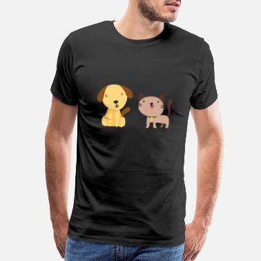 Happiness Cat and dog - Men's Premium T-Shirt