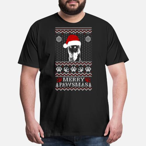 Ugly Christmas Sweater For Doberman Pinscher Lov Mens Premium T