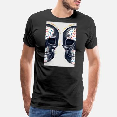 Michel Half Skulls, two skulls in polka dots. - Men's Premium T-Shirt