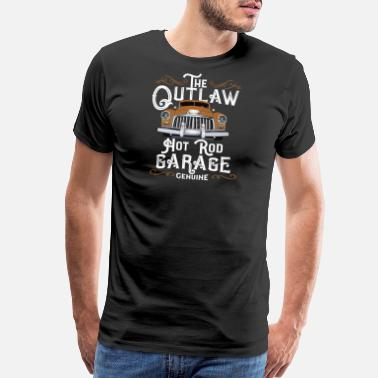 Classic Car (Gift) Old Car - The Outlaw Hot Rod Garage Genuine - Men's Premium T-Shirt