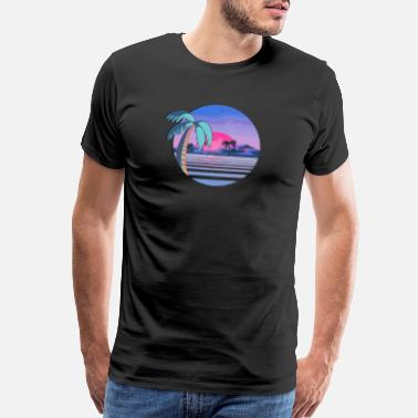 Retro Wave Vaporwave Beach - Men's Premium T-Shirt
