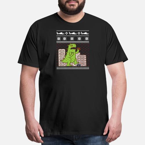 Godzilla Ugly Christmas Mens Premium T Shirt Spreadshirt