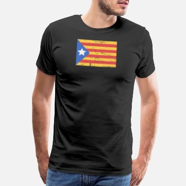 Flag Of Catalunya Distressed Catalonia Catalunya Flag - Men's Premium T-Shirt