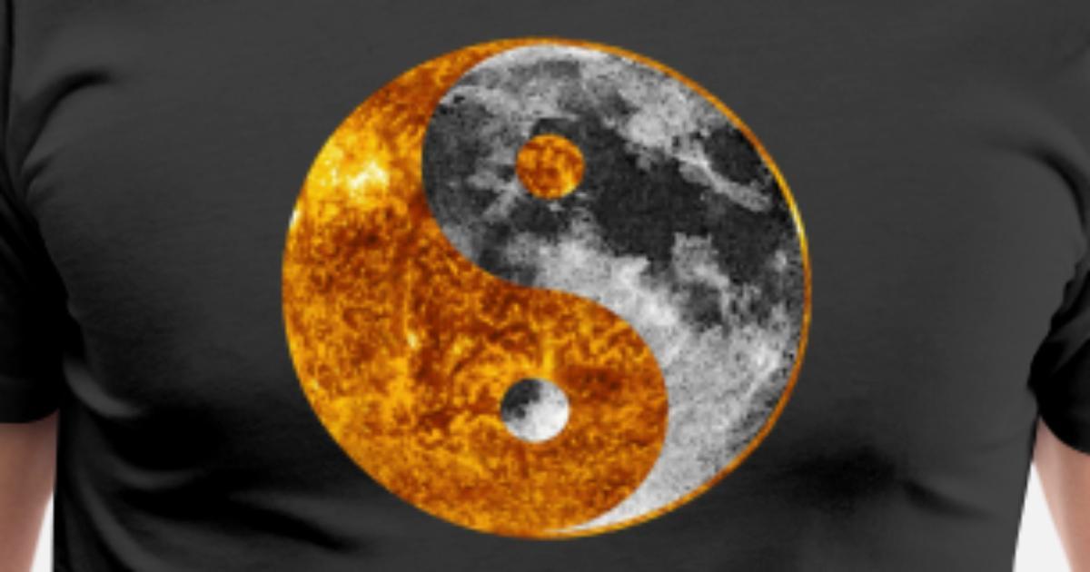 Yin Yang Sun Moon Chinese Tai Chi Symbol Graphic Mens Premium T